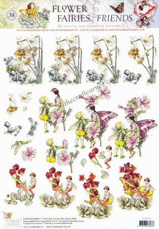 Flower Fairy 38 Daffodil, Wallflower & Mallow by Cicely Mary Barker 3d Decoupage Sheet